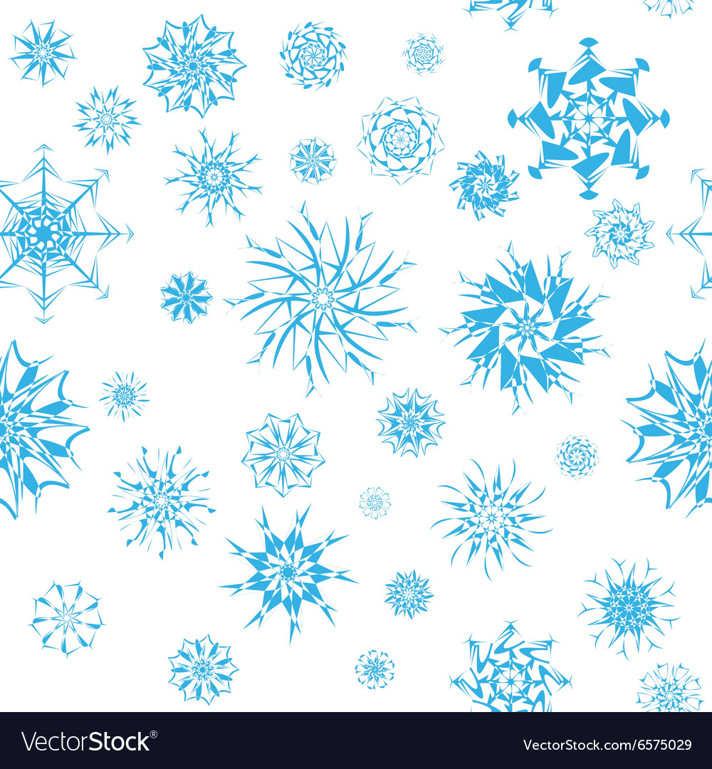 Elegant blue snowflakes of various styles isolated