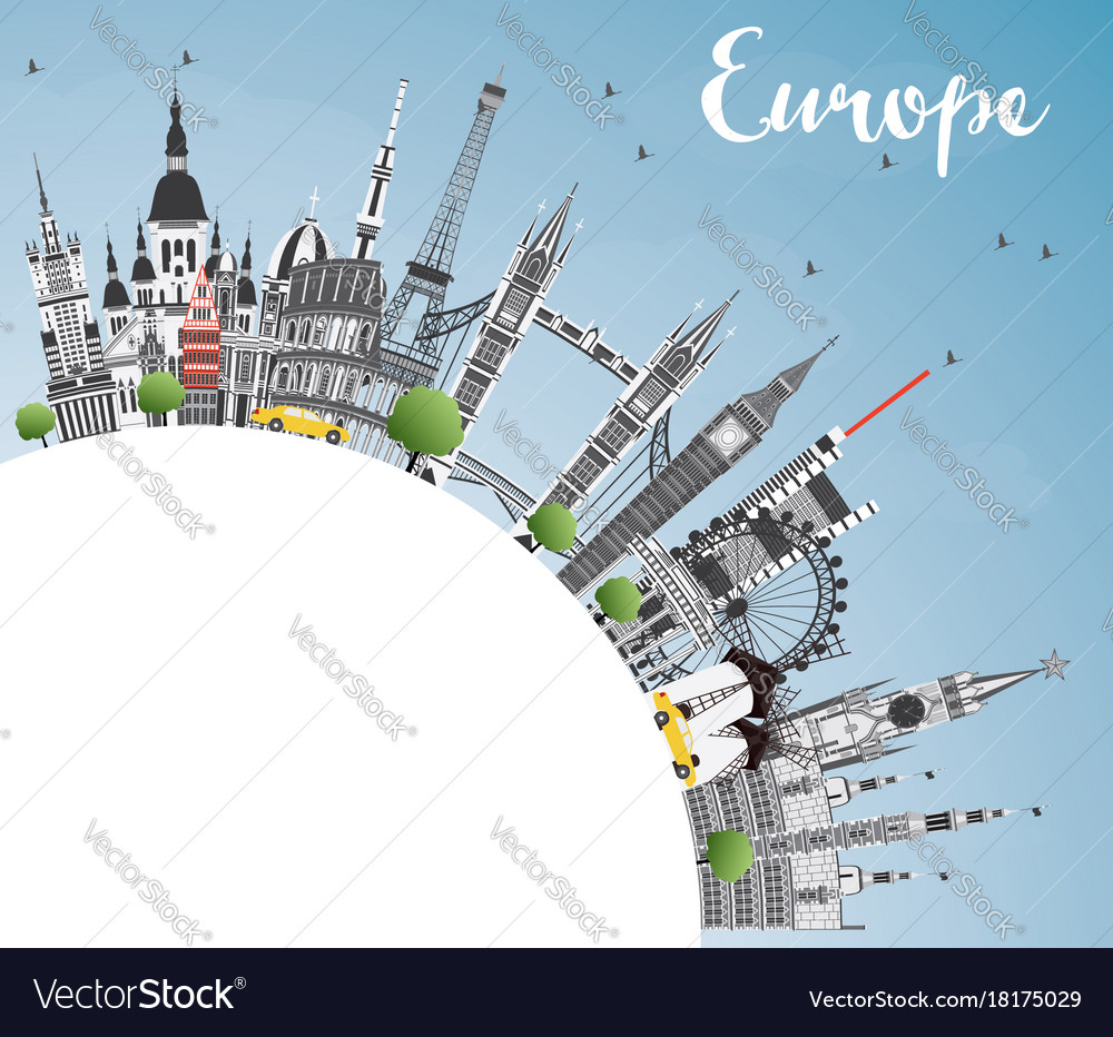 Famous landmarks in europe with copy space