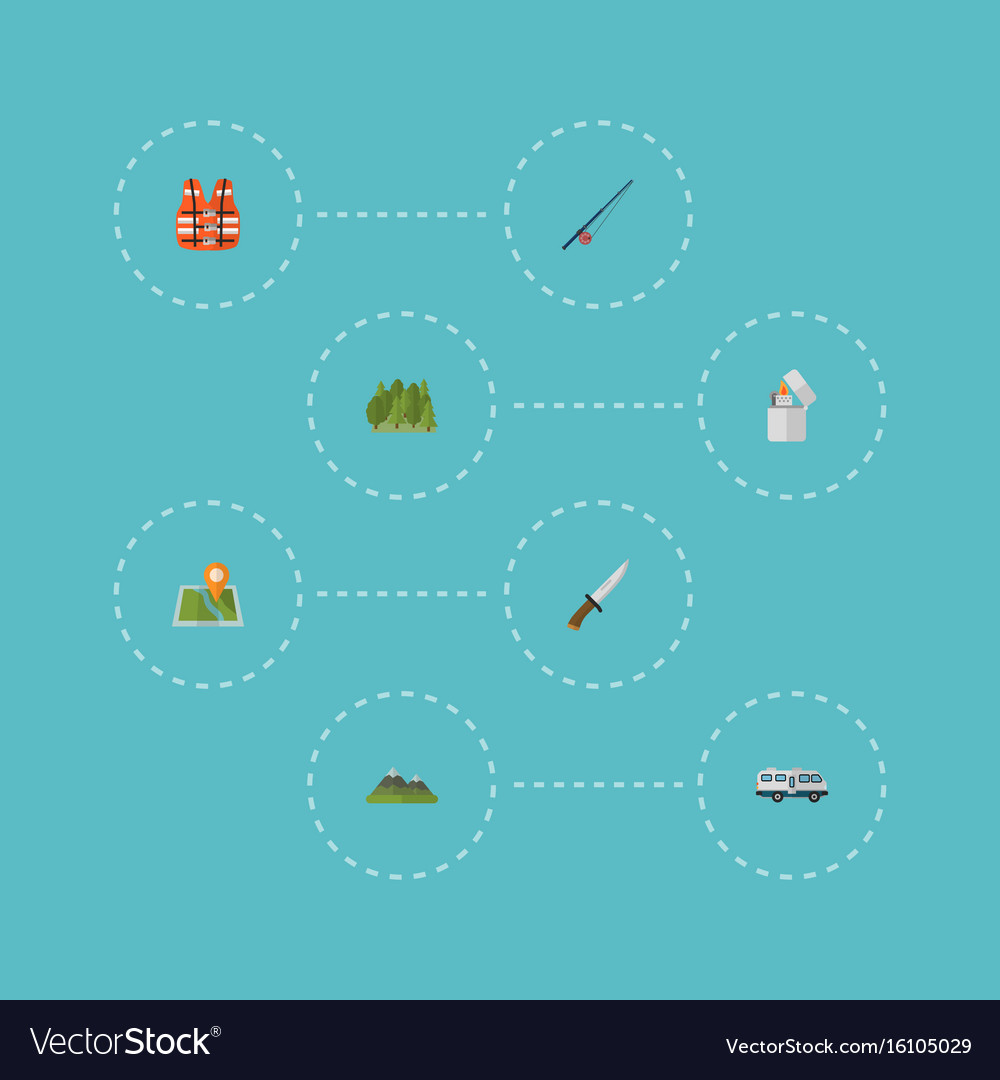 Flat icons hunting cutter hill lifesaver and vector image