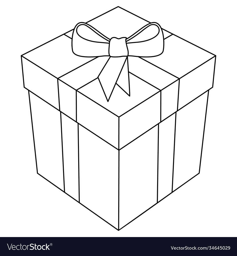 Gift box with bow and ribbon 3d line art