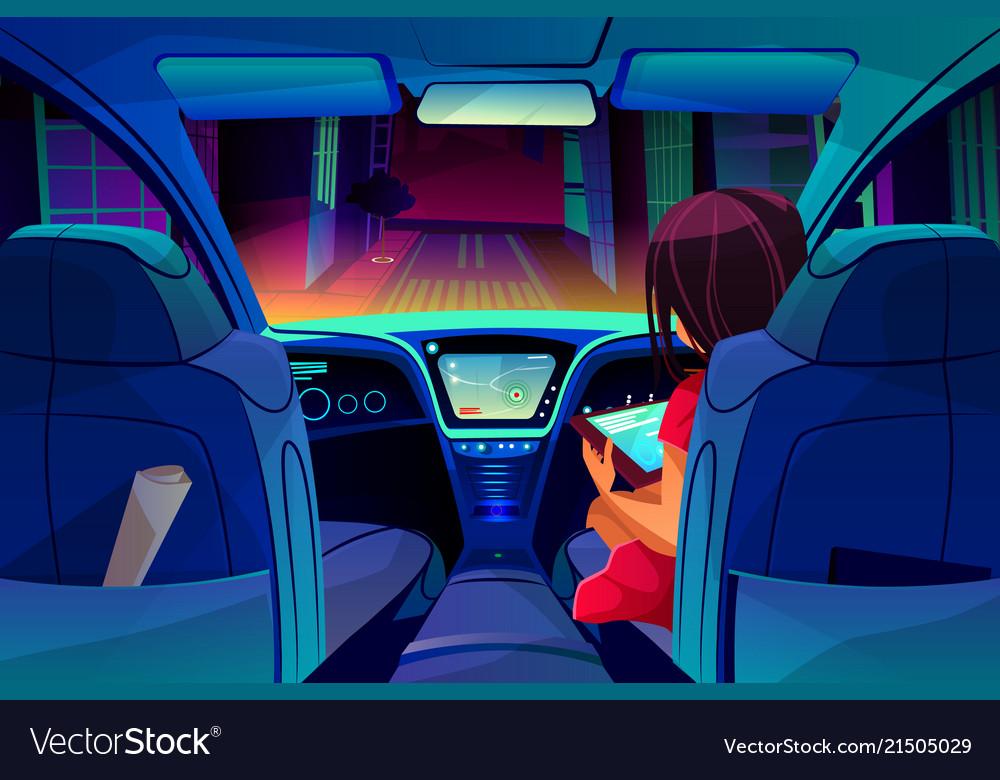 Girl control smart car inside