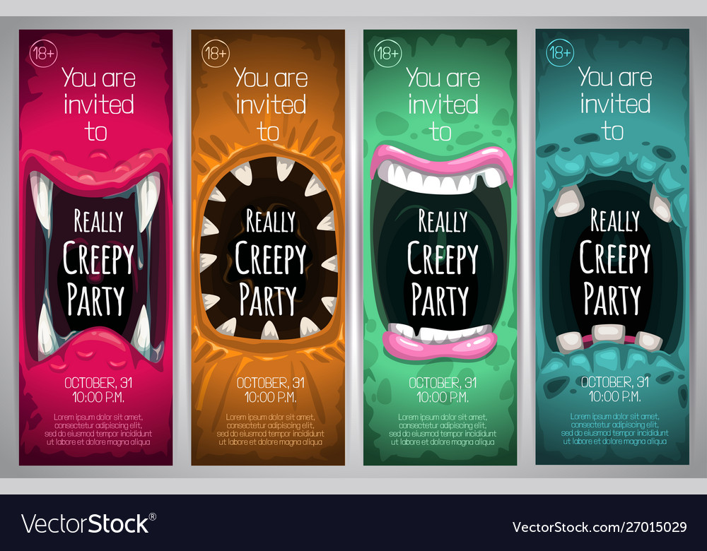Halloween vertical banners with creepy monster