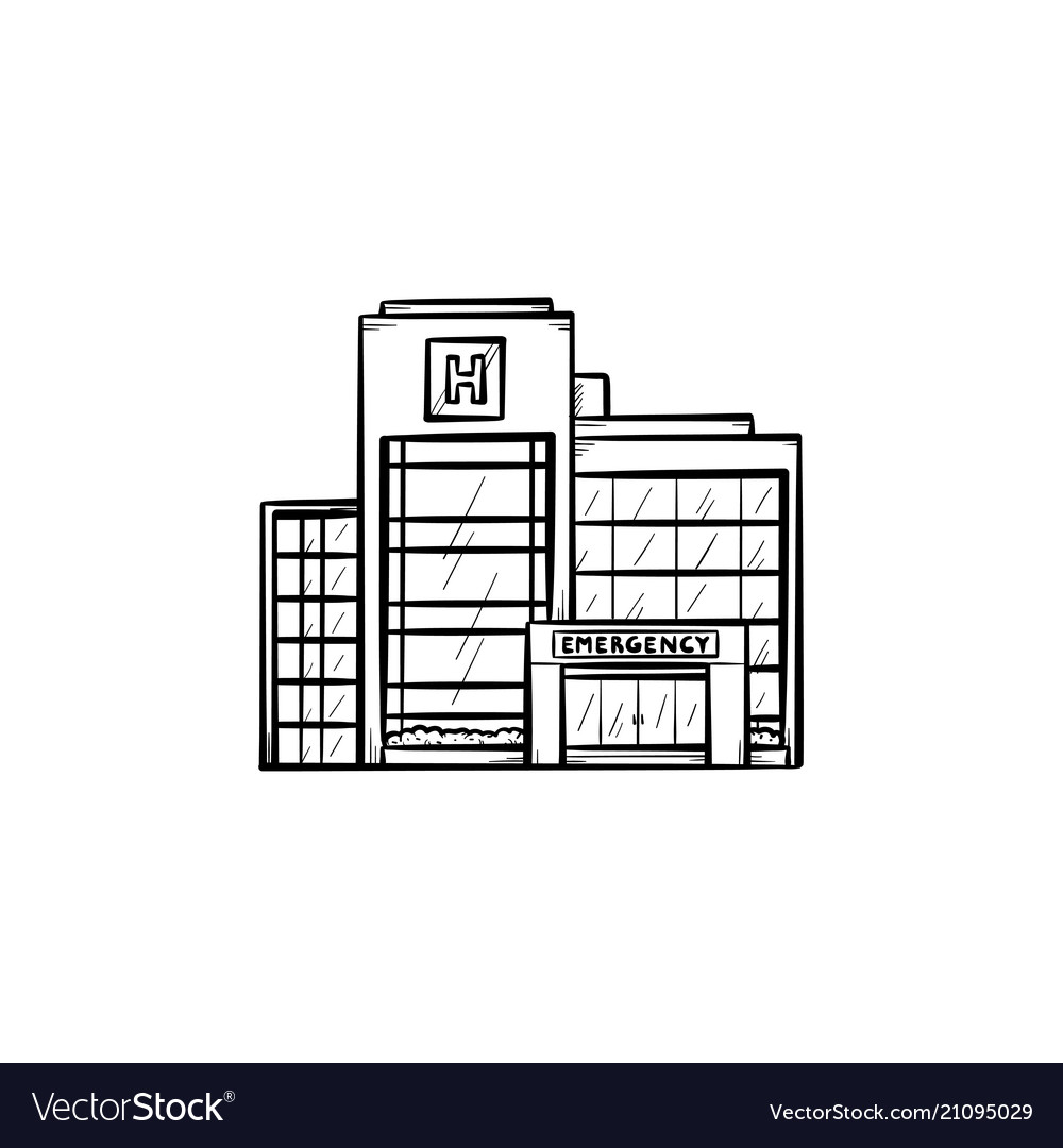 Hospital building hand drawn outline doodle icon