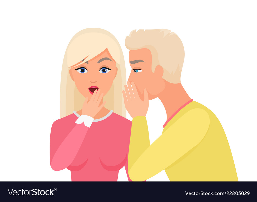Man whispering gossip or secret rumors to woman