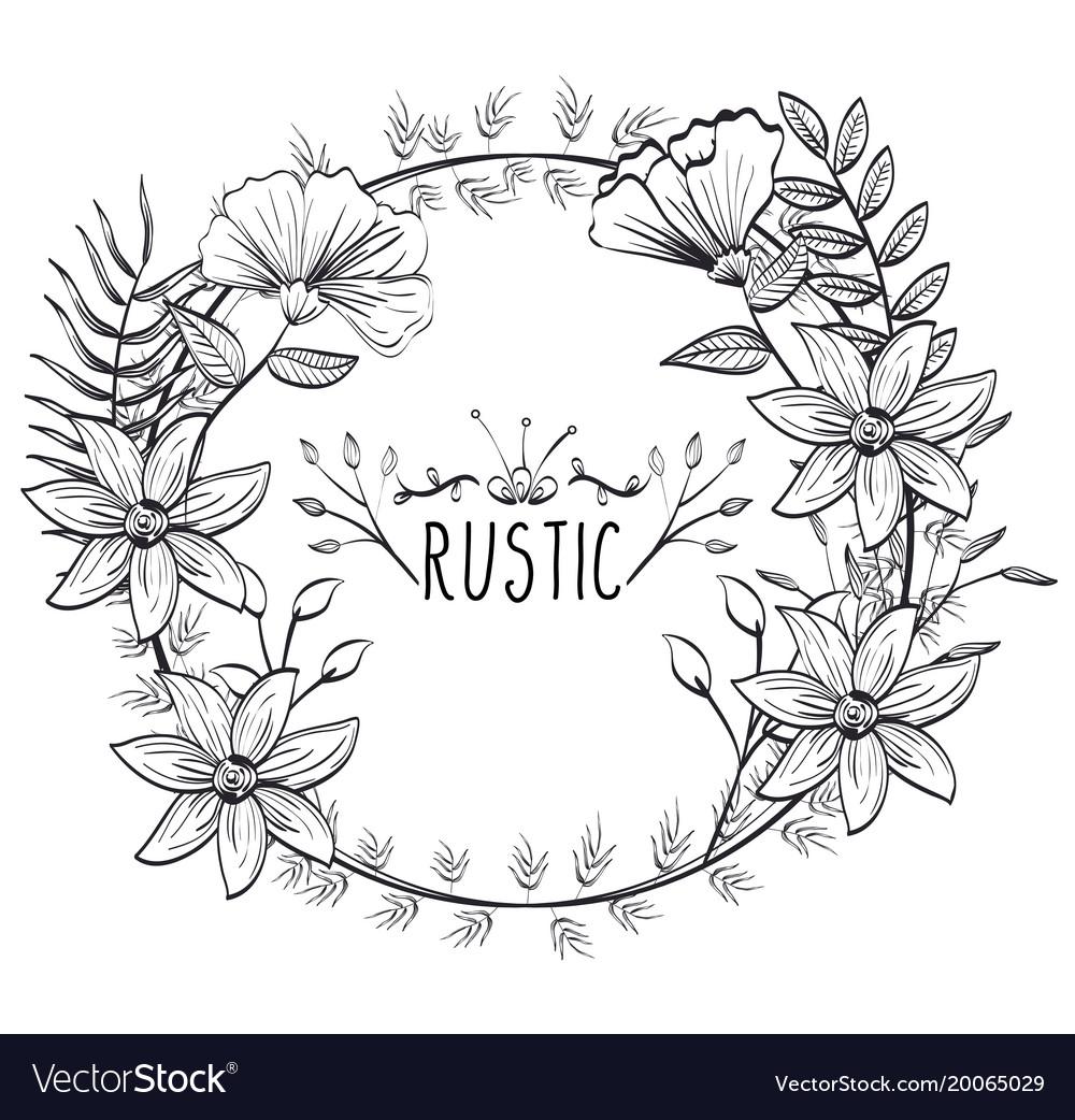Rustic Circular Seal Wreath Vector Image