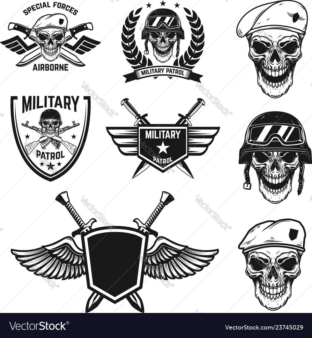 Set military emblems with paratrooper skull