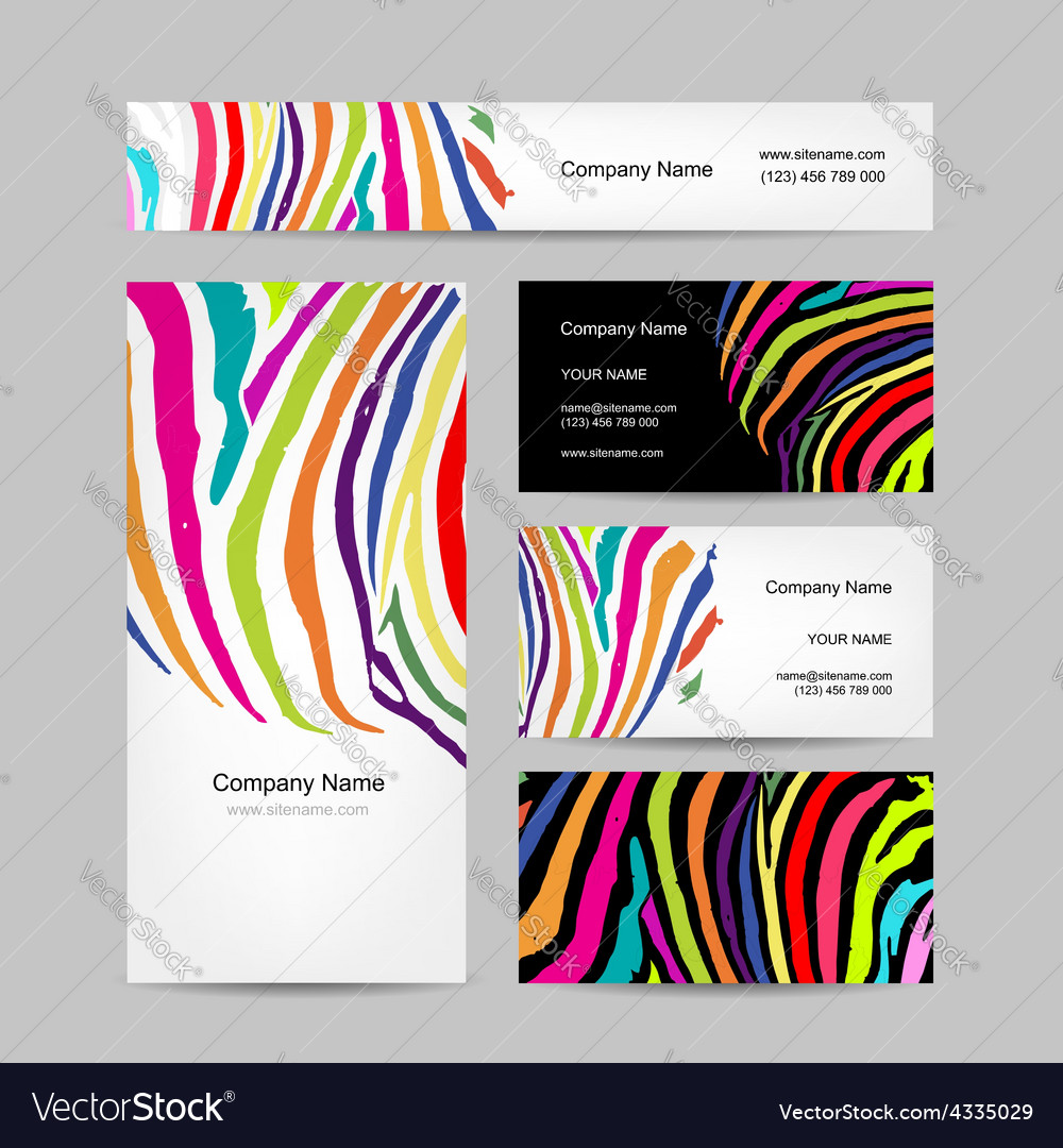 Set of business cards colorful zebra print design vector image colourmoves