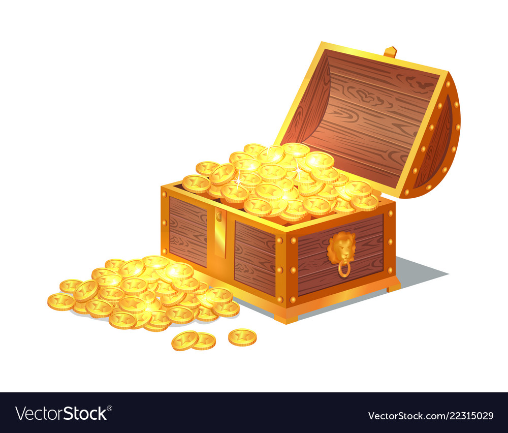 Shiny Gold Ancient Coins In Old Open Wooden Chest Vector Image