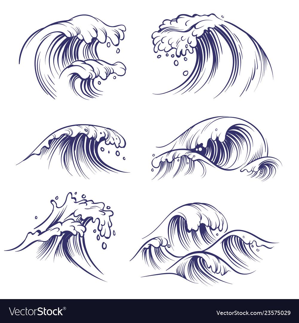 Sketch wave ocean sea waves splash hand drawn