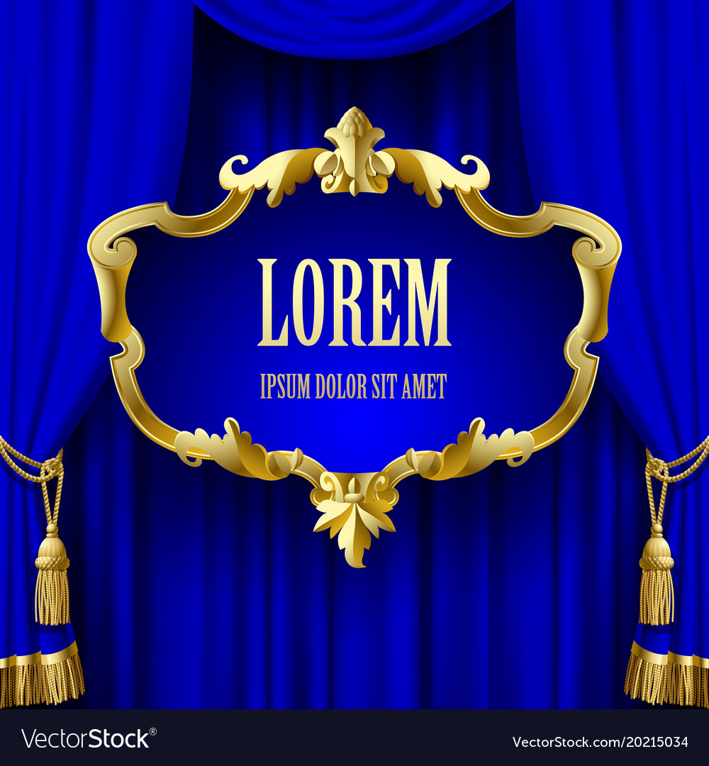 Blue curtain with a decorative gold baroque frame