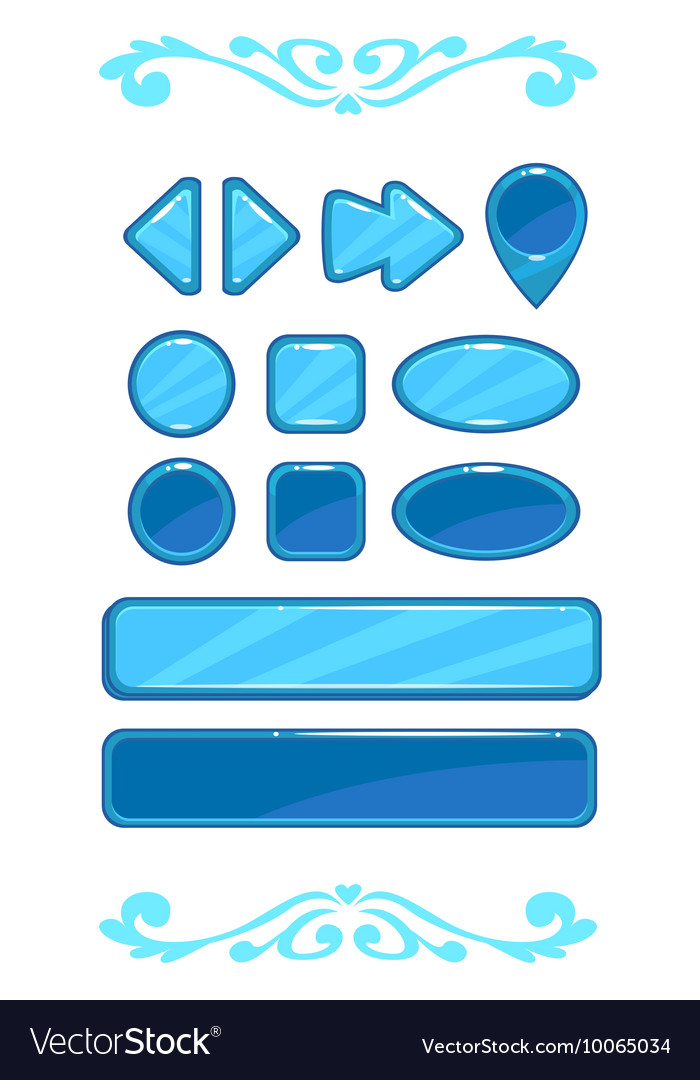 Cute blue game user interface