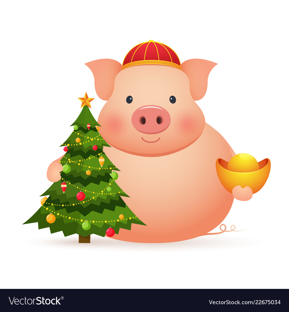 Chinese Christmas.Cute Pig With Chinese Gold And Christmas Tree On