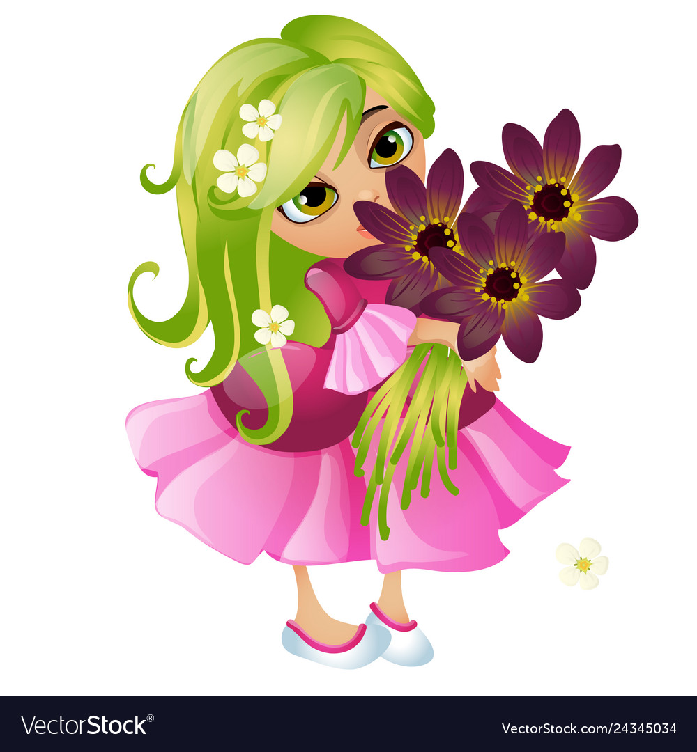 Cute young animated girl with green hair and a