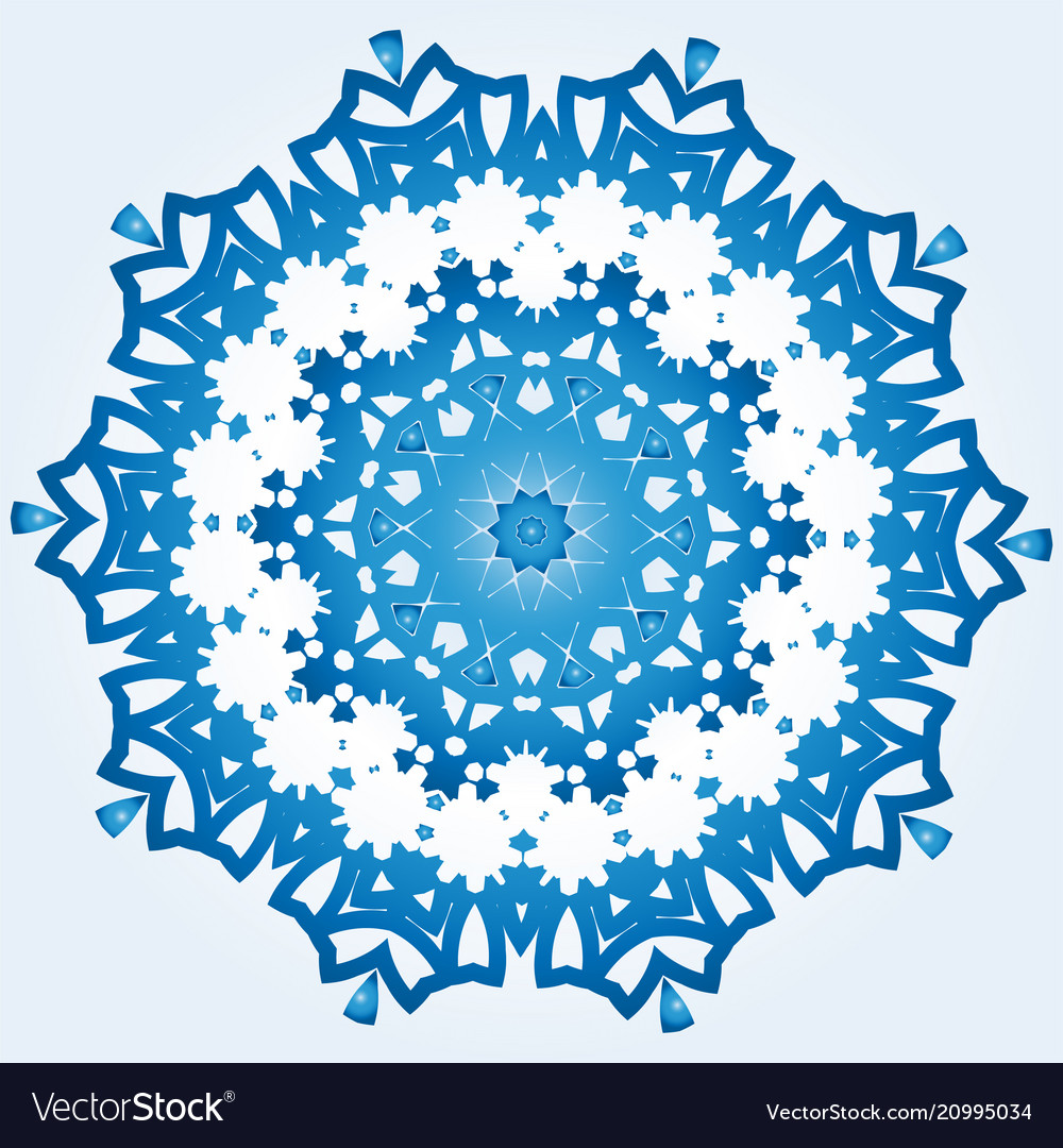 Decagonal blue and white snowflake on light blue