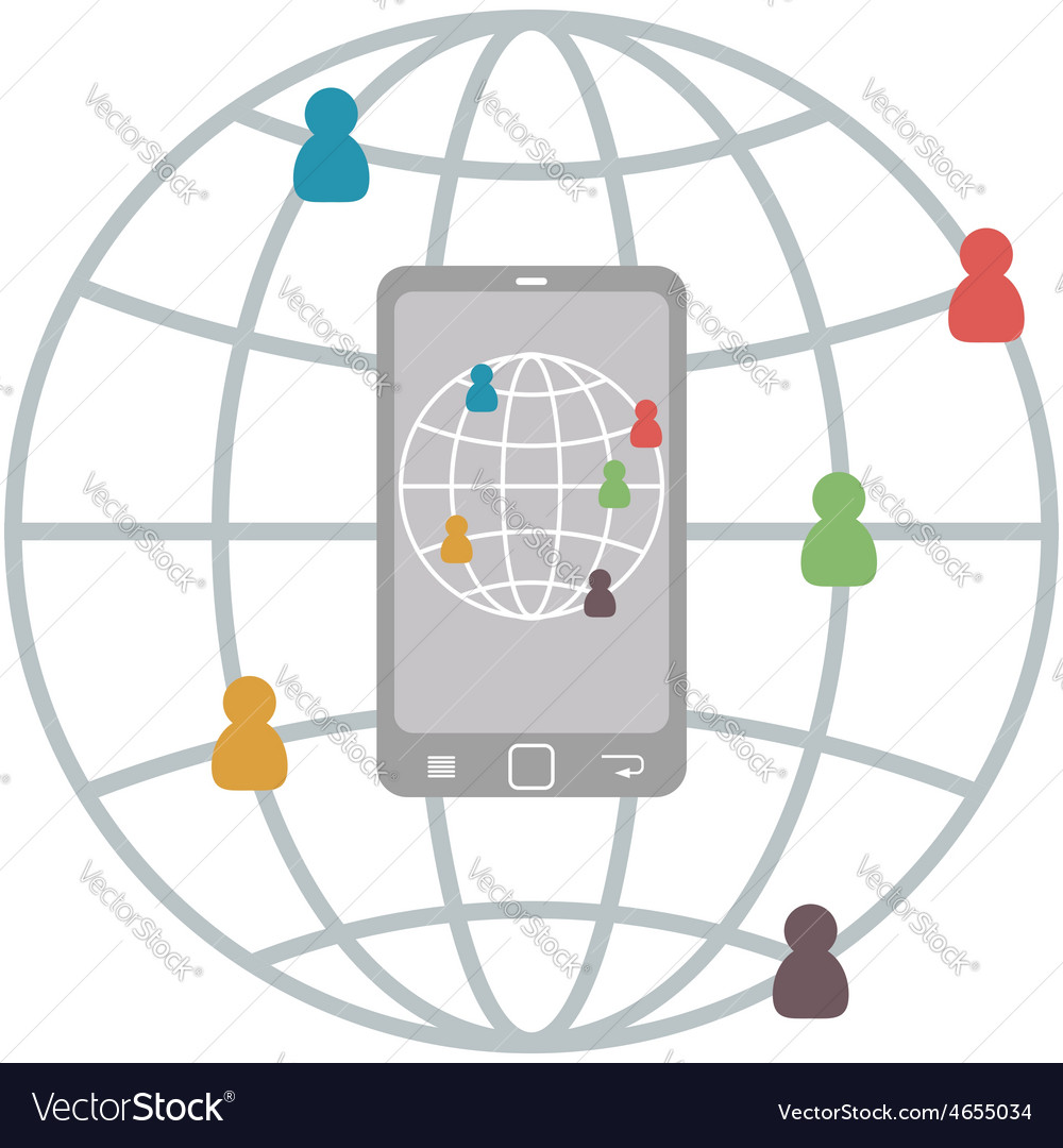 Flat Mobile Infographic of connect people