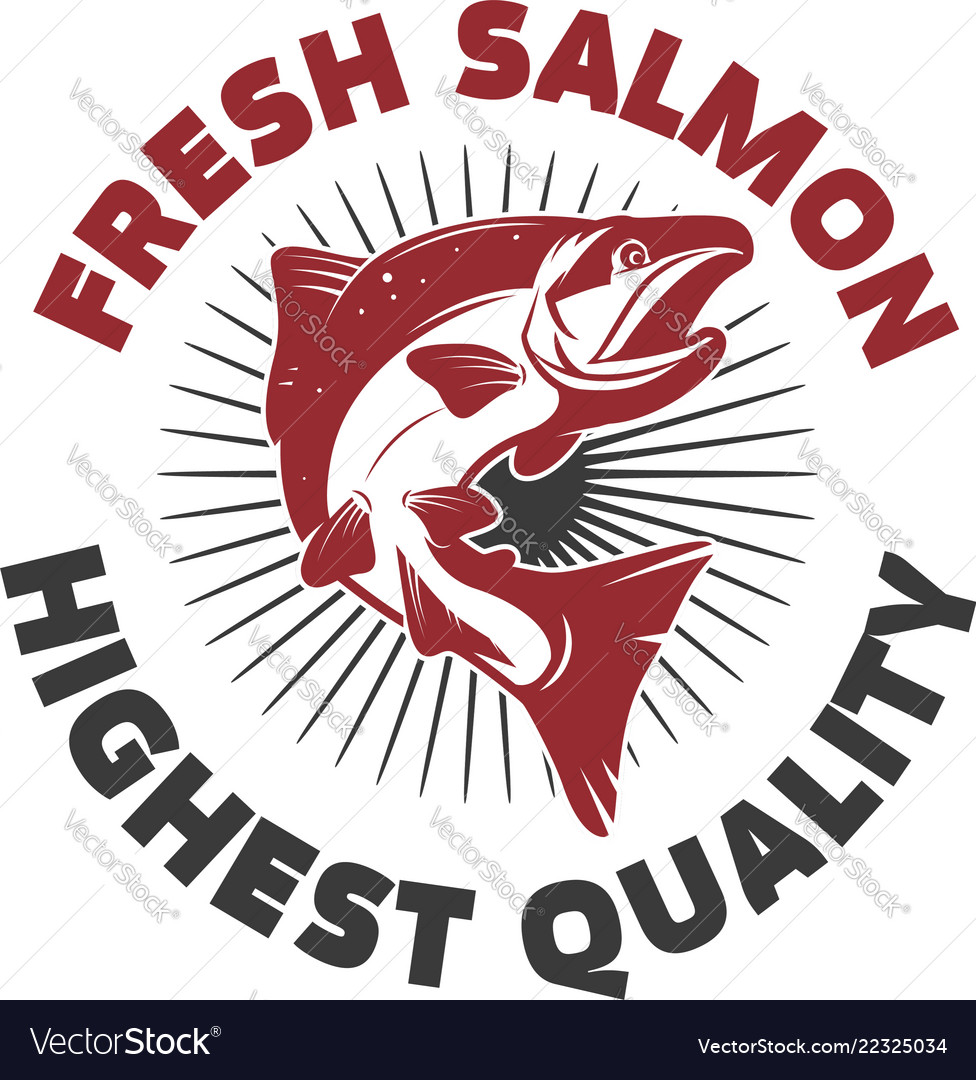 Fresh salmon seafood label template design