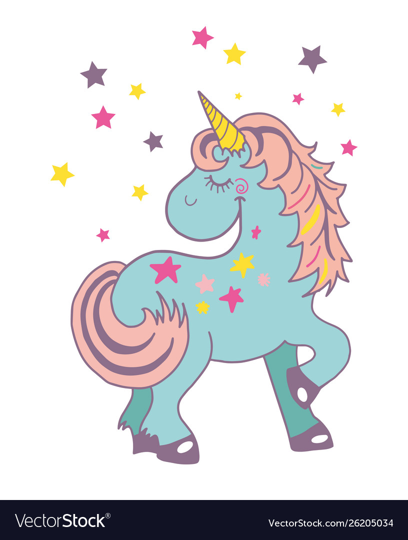 Funny and hapy colored cartoon style unicorn with