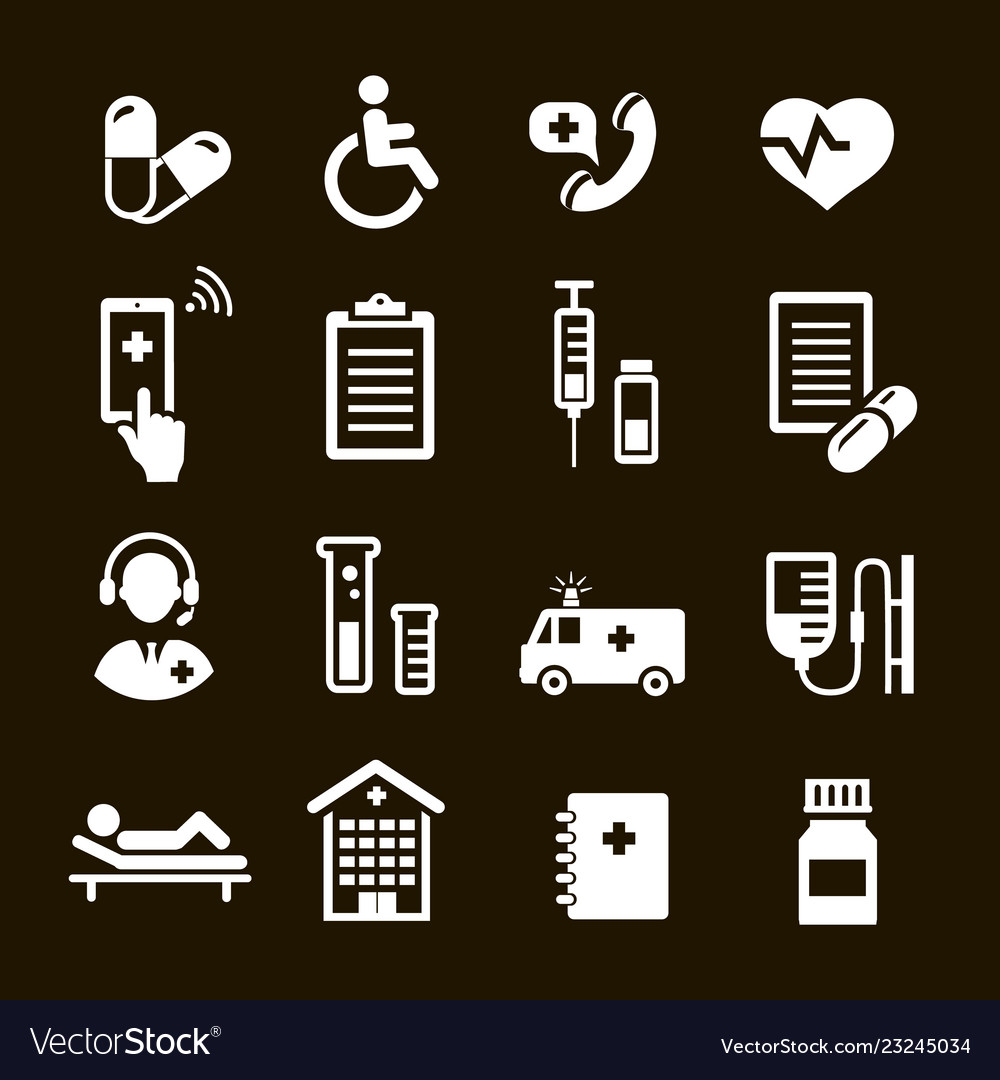 Healthcare icons set medical assistance symbols