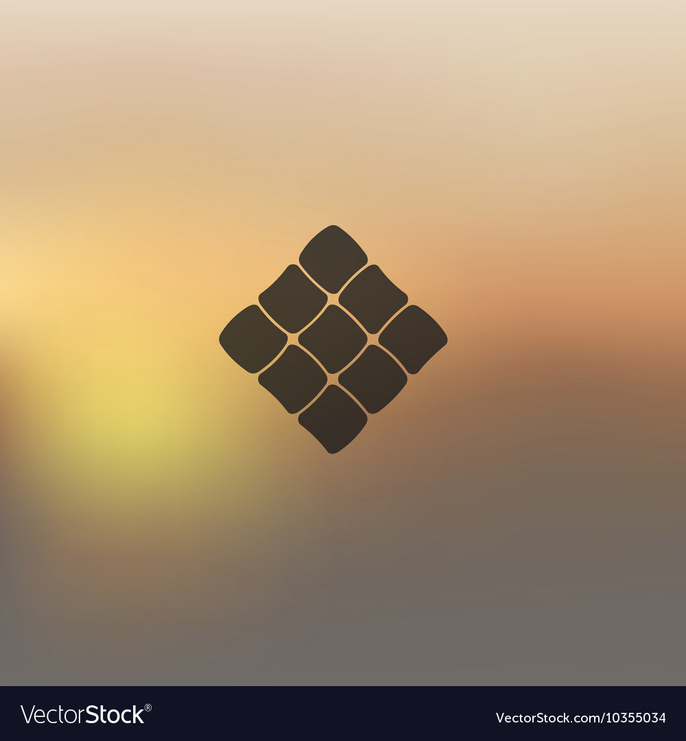 Ketupat icon on blurred background vector image