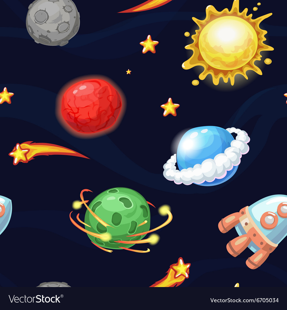 Seamless pattern with rocket and fantastic planets