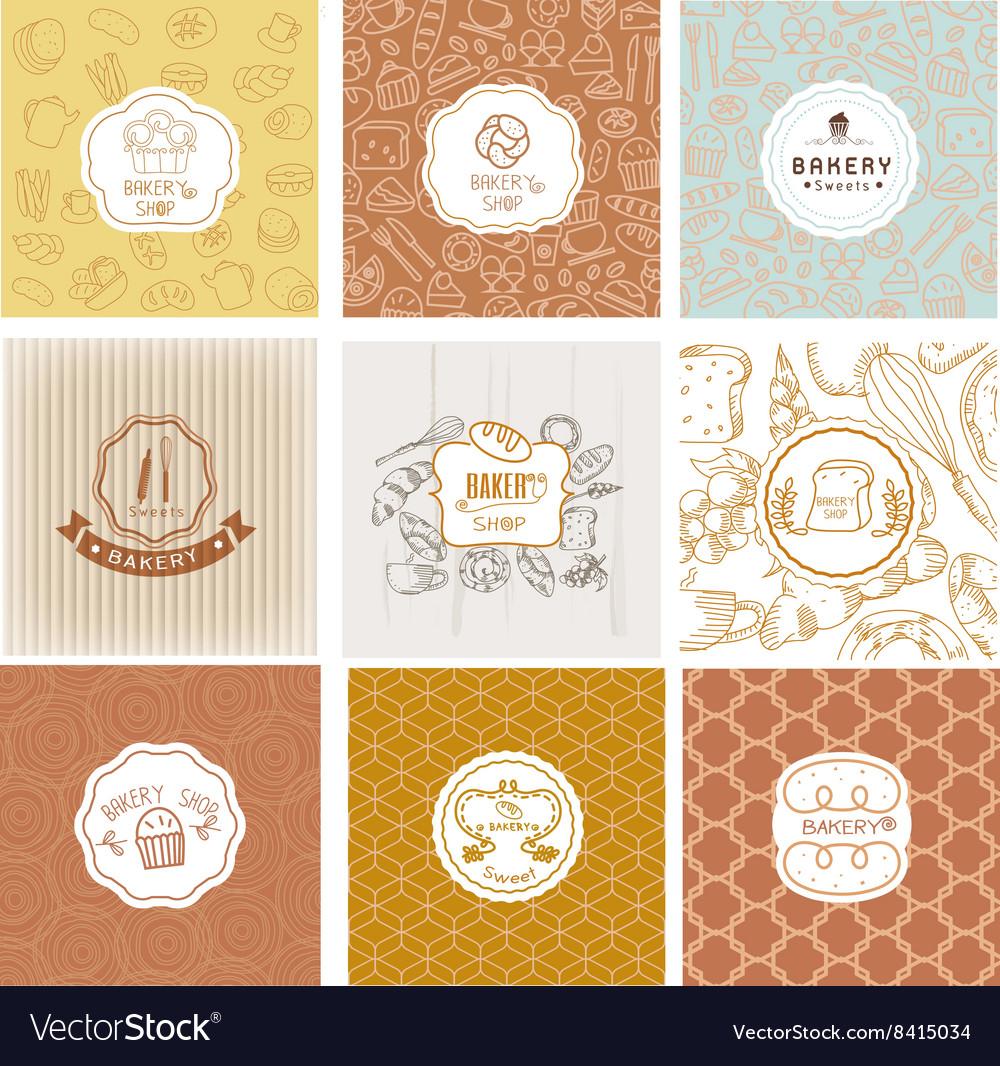 Set of bakery logo vector image