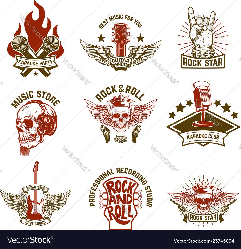 Set of vintage music emblems design element for