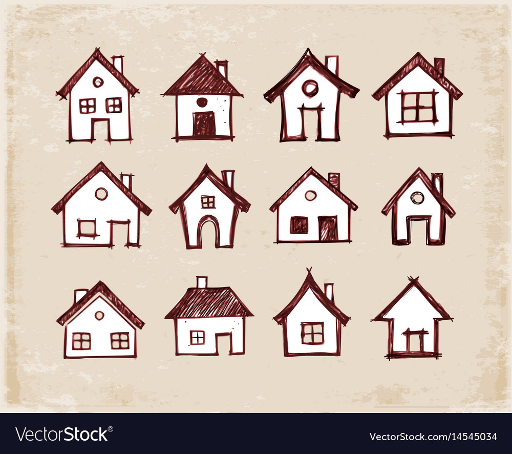 Sketch of houses on vintage background