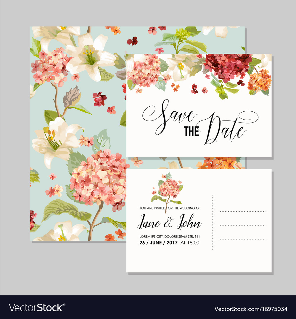 Wedding invitation with autumn hortensia flowers Vector Image