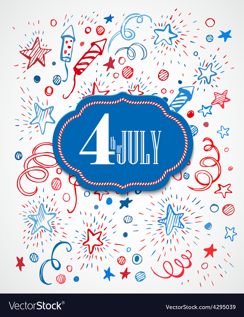 American Independence Day Hand-drawn pattern