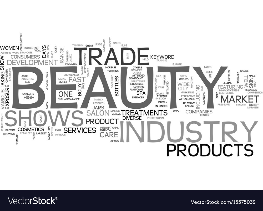 Beauty trade shows text word cloud concept