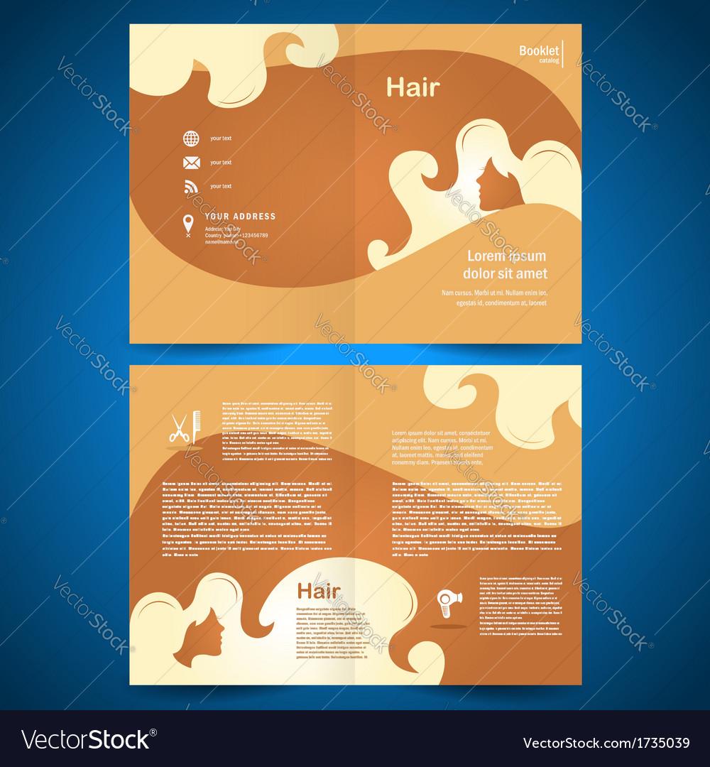 Booklet catalog brochure folder hair salon beauty vector image