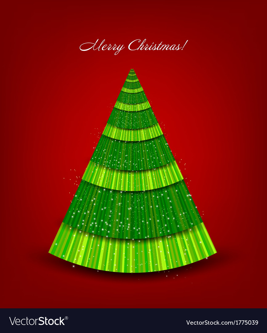 Christmas red background with green tree
