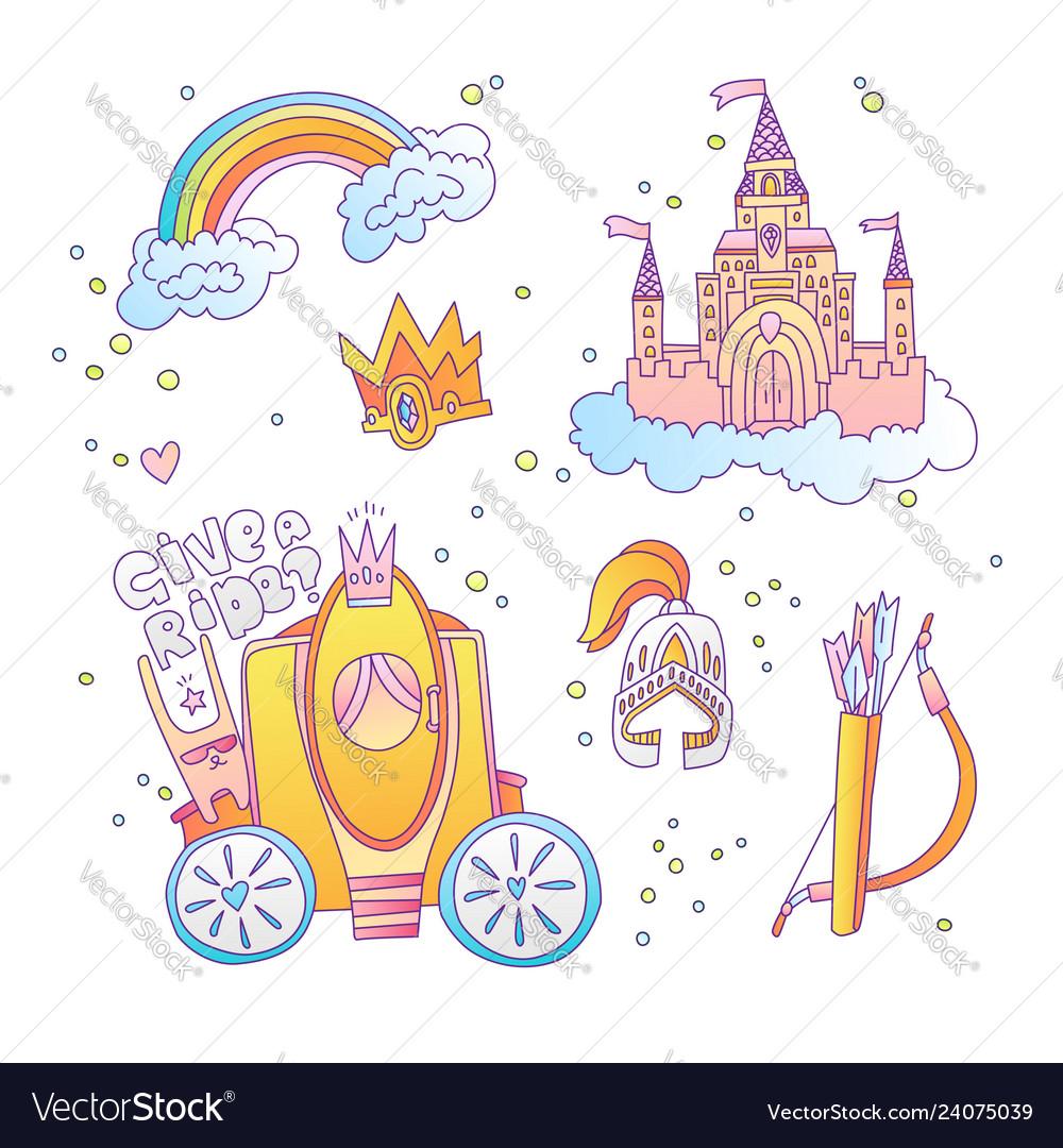 Cute cartoon magic princess icon collection icon