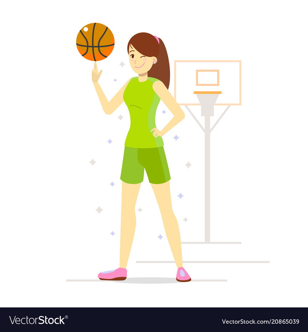 Girl Playing Basketball In Cartoon Style Vector Image
