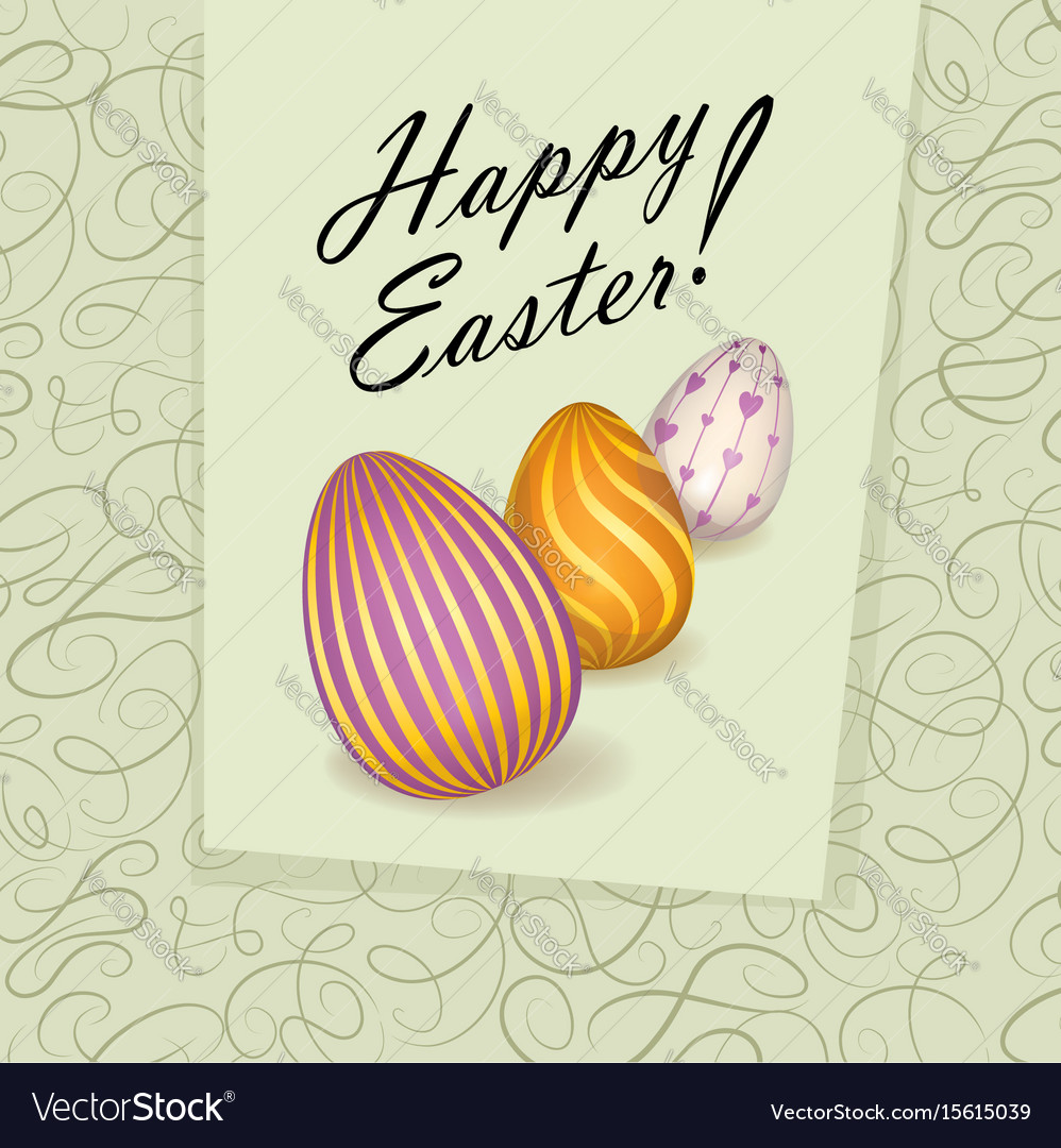 Happy easter greeting card easter holiday egg vector image