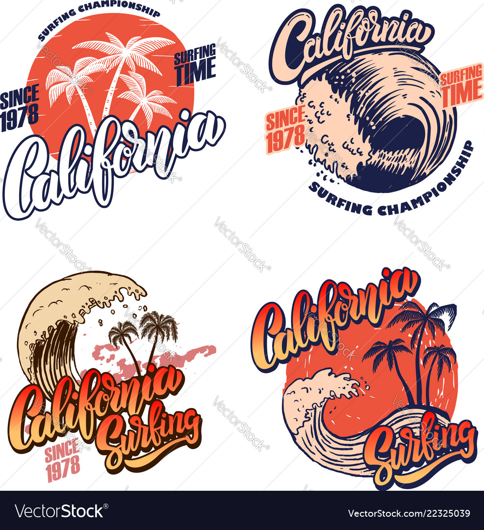 Hawaii surfing club miami poster templates with Vector Image
