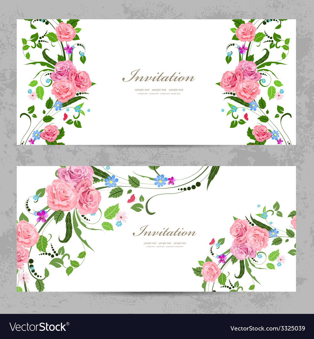 Invitation cards with beautiful flowers for your vector image izmirmasajfo