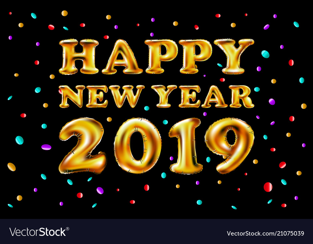 Metallic gold letter balloons 2019 happy new year