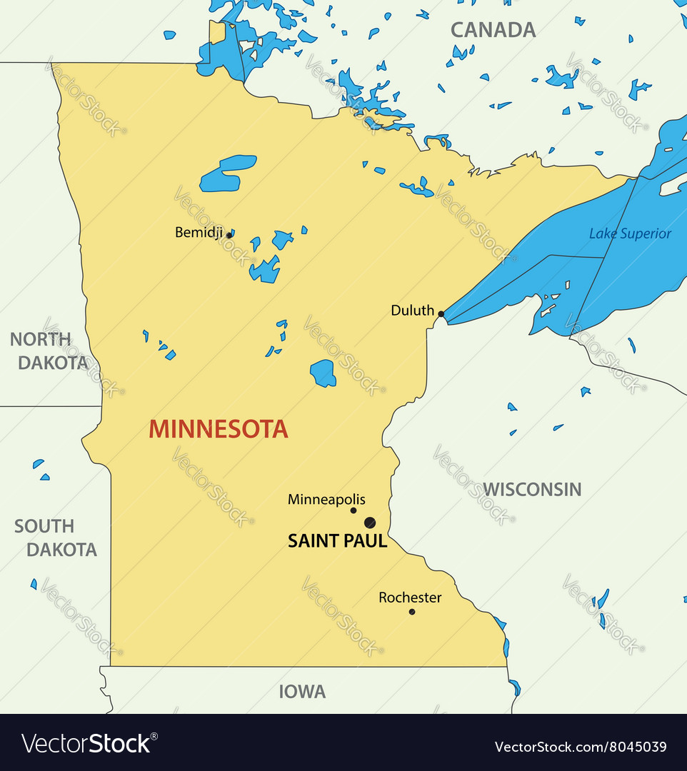 Minnesota Map Royalty Free Vector Image Vectorstock