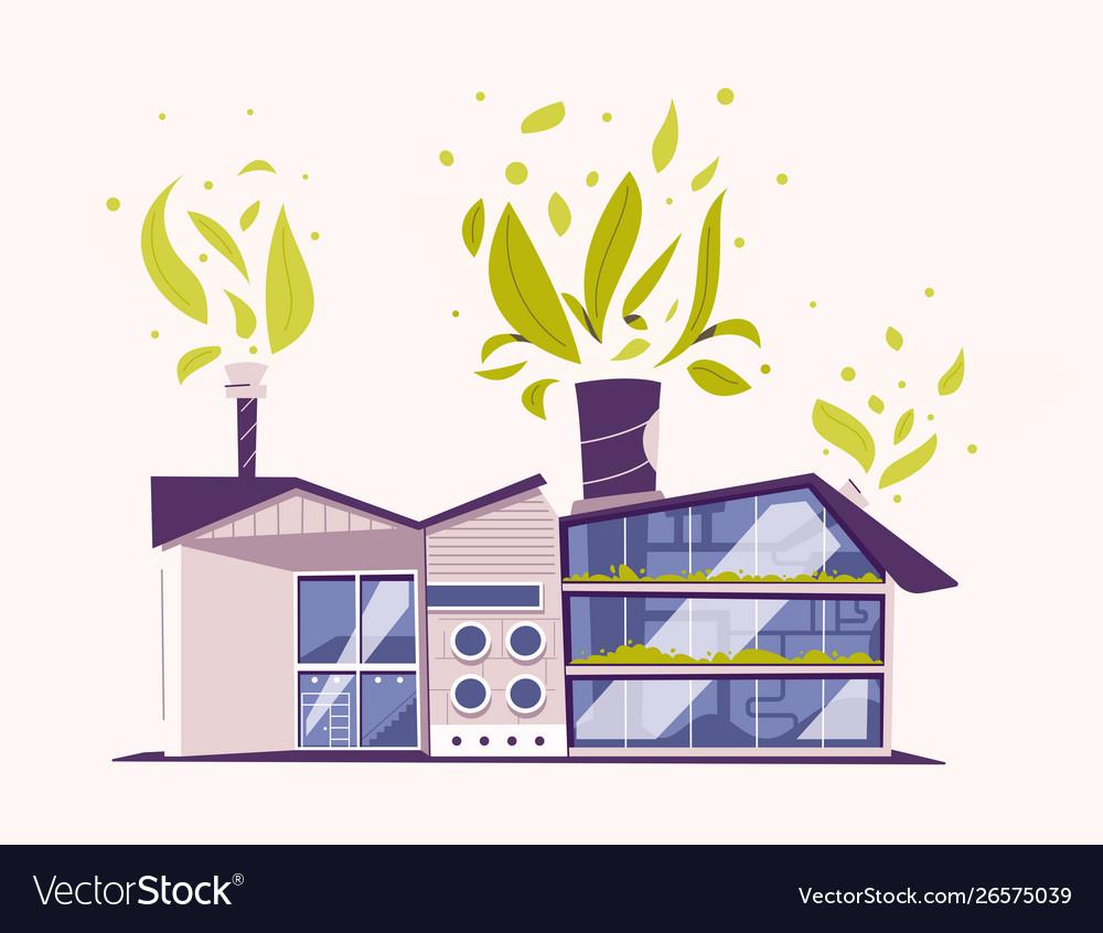 Modern green eco factory building cartoon