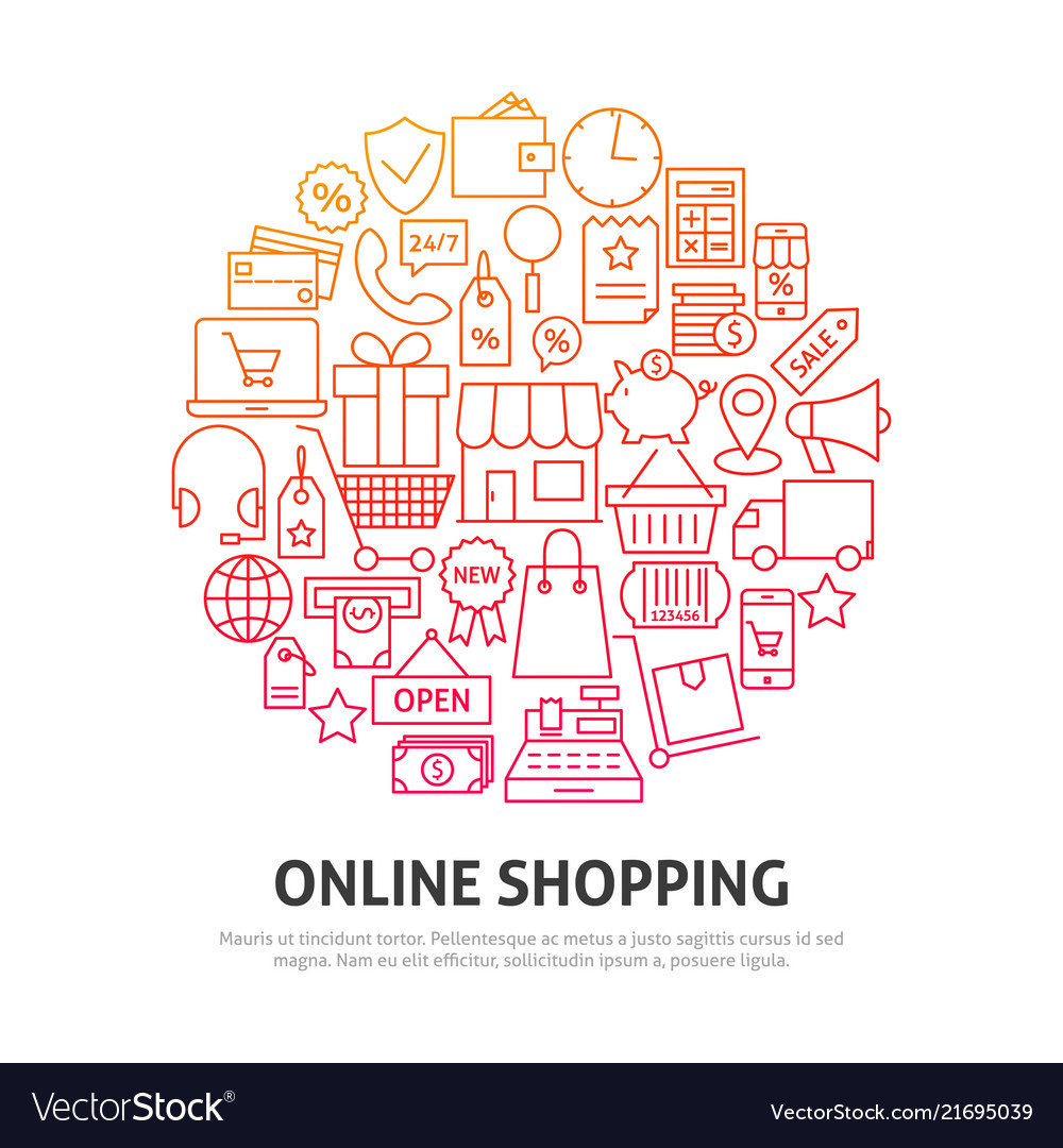 Online shopping circle concept