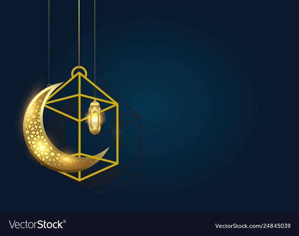 Ramadan kareem background with moon and lantern