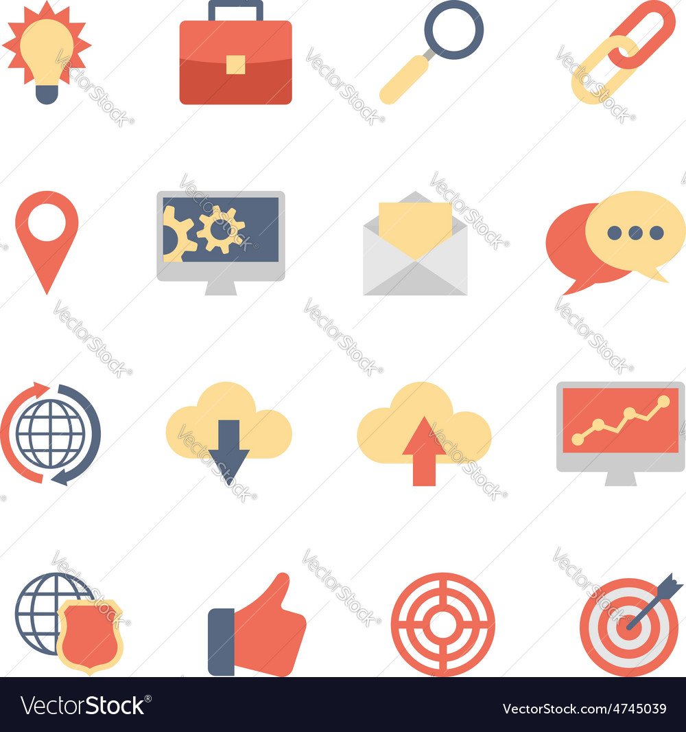 Set of SEO and Development flat icons