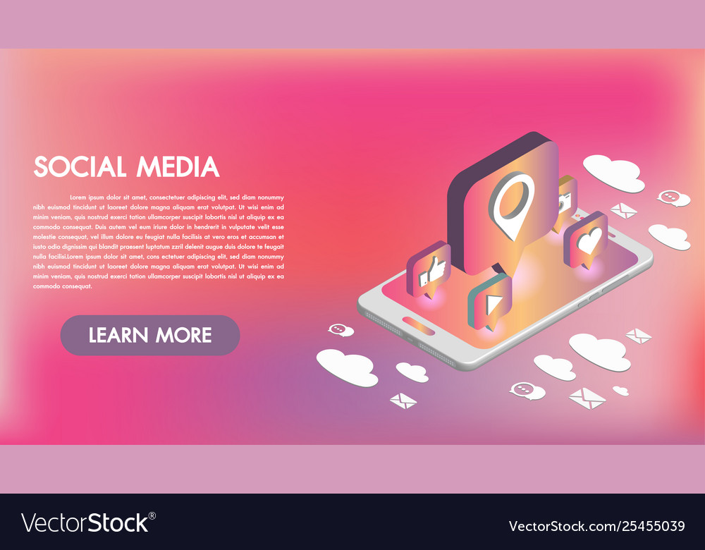 Social media apps on a smartphone 3d isometric