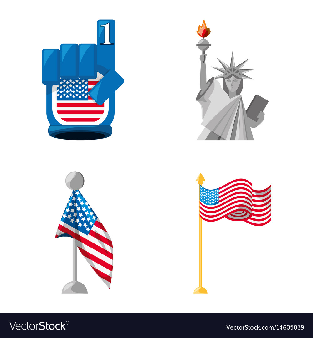 Statue of liberty number one and american flags