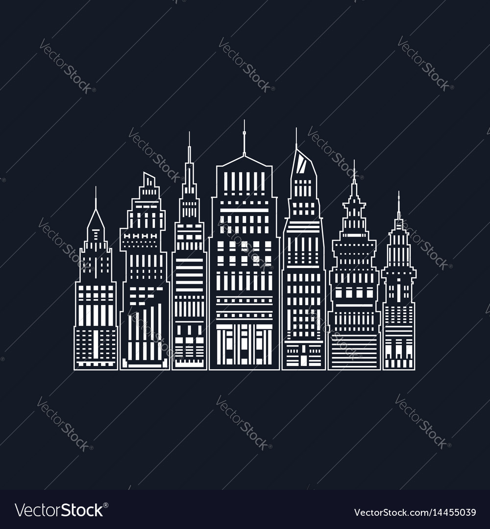 White silhouette modern big city line style
