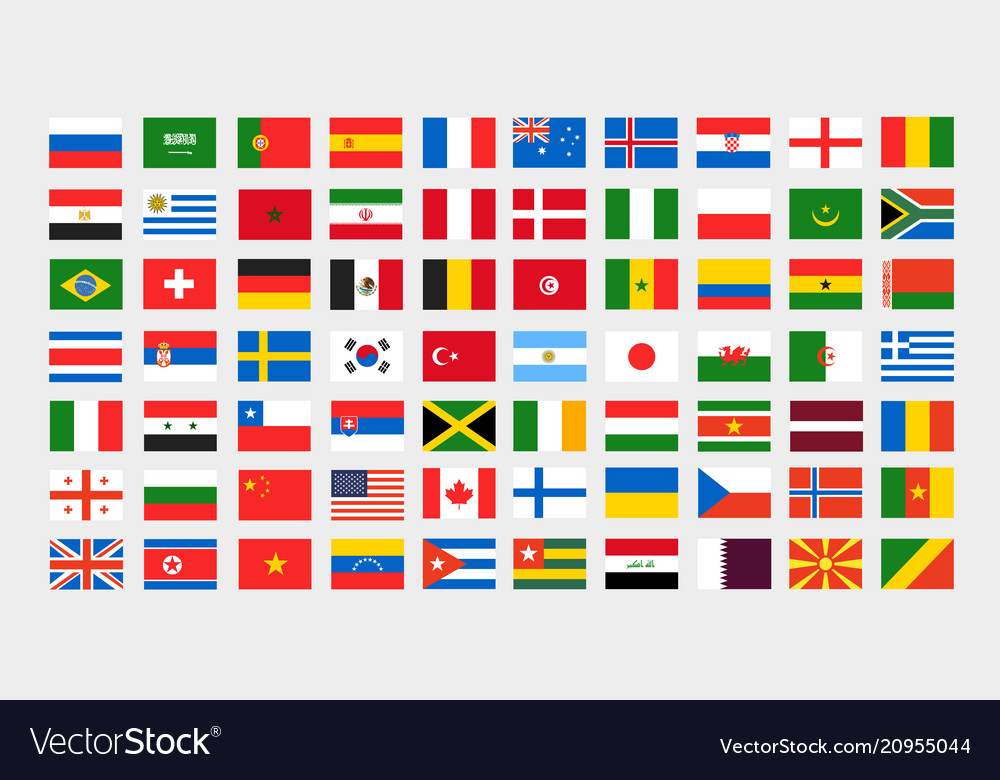 Different national flags clip-art collection