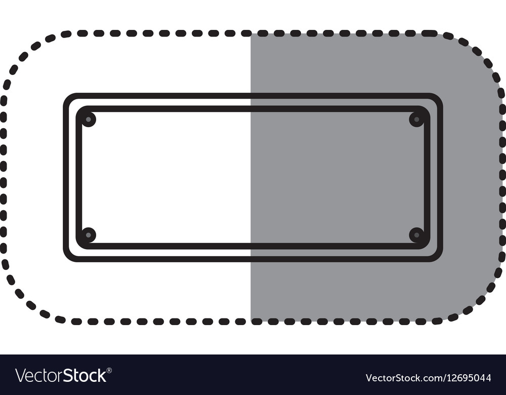 Gray silhouette dotted sticker metallic plate vector image