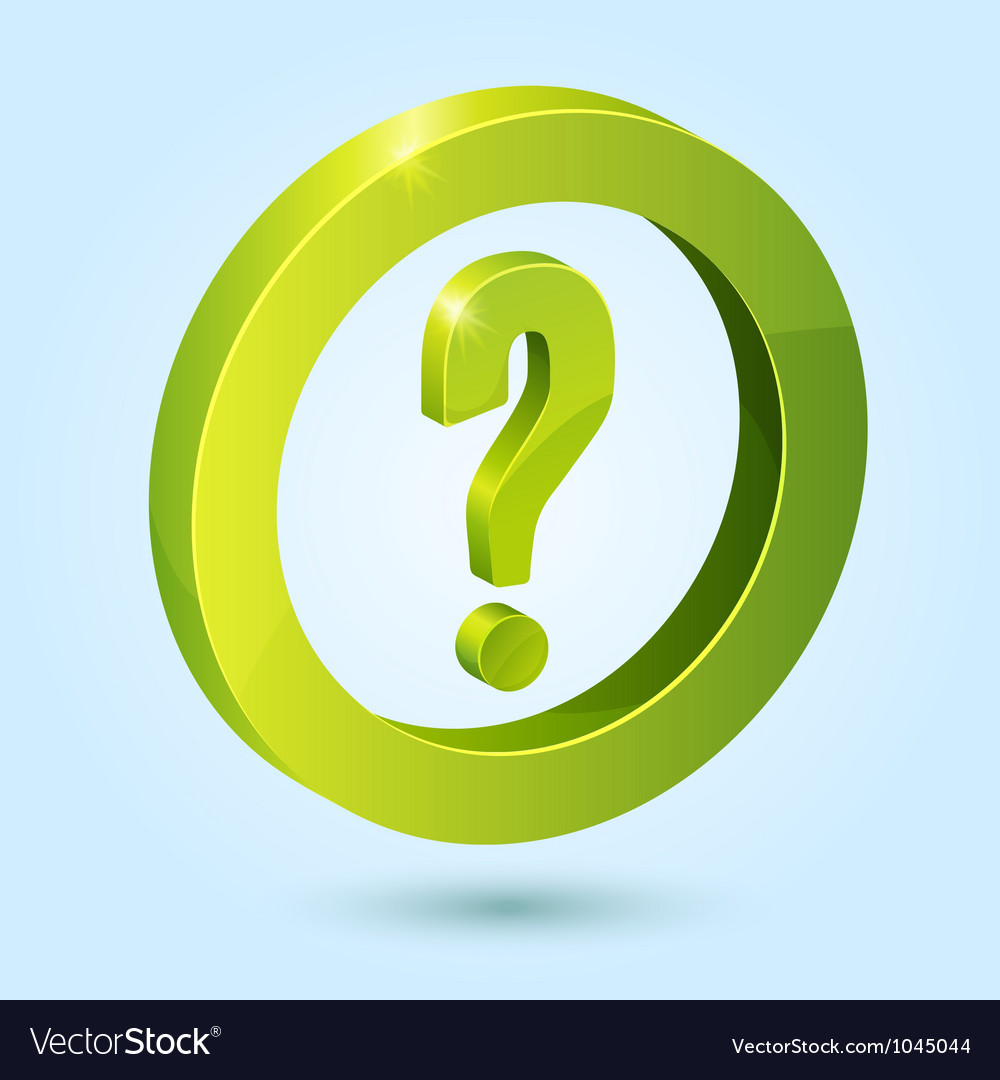 Green question symbol isolated on blue background vector image