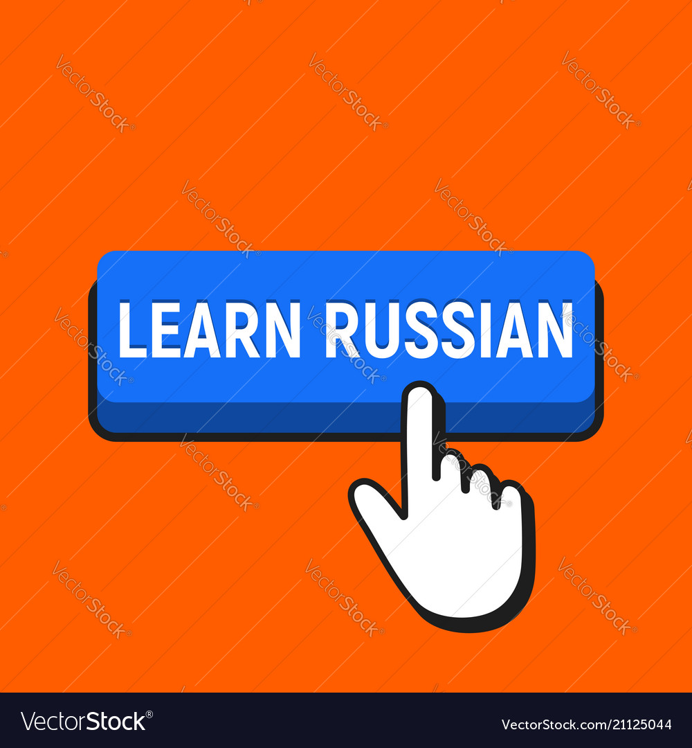 Hand mouse cursor clicks the learn russian button